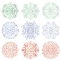 Set van 9 handgetekende vector Arabische mandala op witte achtergrond. Rond abstract etnisch oosters ornament.