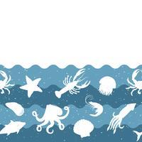 Horizontaal herhalend patroon met zeevruchtenproducten. Zeevruchten naadloze banner met onderwaterdieren. Tegelontwerp voor restaurant, visvoerindustrie of markthandel. vector