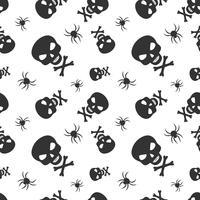 Naadloos vectorpatroon met schedels en spinnen. Halloween herhalende schedels achtergrond voor textieldruk, inpakpapier of scrapbooking.