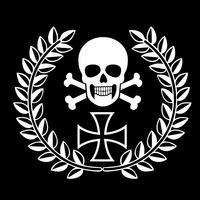 militair embleem met schedel vector
