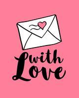 Handgeschreven letters met liefde en omhullen met hart vorm voor Valentijnsdag kaart, poster, spandoek of label. Vector Valentijnsdag illustratie.