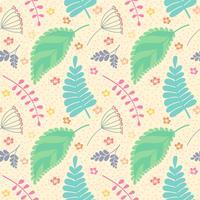 Een naadloos patroon met bladeren en bloemen.