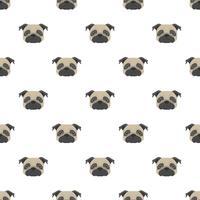 Naadloos vectorpatroon met pug. Hond hoofd platte pictogram herhalende achtergrond voor textielontwerp, inpakpapier, behang of scrapbooking. vector