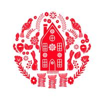 Skandinavisch volkskunstpatroon met uiterst klein huis, vogels en bloemen