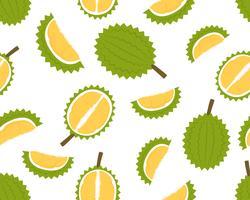 Naadloos patroon van verse durian geïsoleerd op witte achtergrond - Vectorillustratie