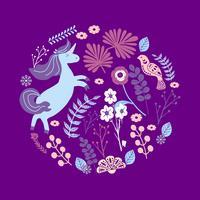 Leuke magische Eenhoorns op een bloemenachtergrond. Vector Romantische hand tekening illustratie