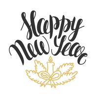 Vectorillustratie met hand getrokken tekst Gelukkig Nieuwjaar. Kerst belettering. Wenskaart ontwerp. vector