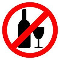 Geen alcoholteken. Alcohol drinken is een verboden pictogram. vector