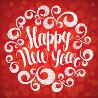 Kerstmis en Nieuwjaar wenskaart. Vector illustratie. Gelukkig Nieuwjaar belettering in ronde bochten ornament. Kerst typografie letterng. Hand getrokken inscriptie, kalligrafische ontwerp.