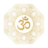 Het gouden symbool van Aum Om Ohm in decoratief rond mandalaornament, perfectioneert voor t-shirtdrukken, affiches, textielontwerp, typografiegoederen.