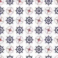 Nautische naadloze patroon met anker en patrijspoort.