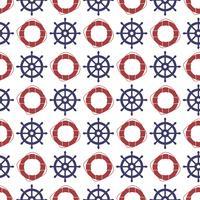 Nautische naadloze patroon met wiel en ring reddingsboei.