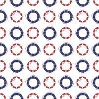 Nautische naadloze patroon met ring reddingsboei en patrijspoort. vector
