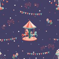 Pretpark naadloze patroon met carrousel met uren en carrousel.