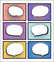 set van stripboek, popart met lege tekstballon vector