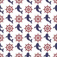 Nautische naadloze patroon met wiel en walvis.