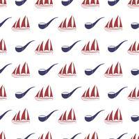 Zeevaart naadloos patroon met schip en pijp.