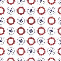 Nautische naadloze patroon met compas en ring reddingsboei. vector
