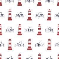 Nautische naadloze patroon met vuurtoren en haai. vector