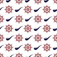 Zeevaart naadloos patroon met wiel en tabakspijp. vector