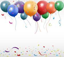 Verjaardag ontwerp met ballon en confetti vector