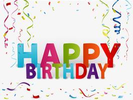 Gelukkige verjaardag achtergrond met kleurrijke confetti