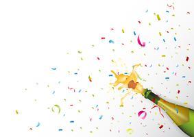 Kampioensfeest met champagne-explosie en confetti vector