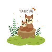 Gelukkige moederdagkaart. Moeder eekhoorn knuffelen haar baby.