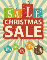 Kerst verkoop ontwerp met boodschappentas en kerstballen
