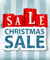 Kerst verkoop ontwerp met boodschappentas en kerstballen vector