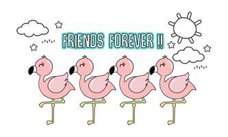 Leuke roze flamingo met haar vrienden. vector