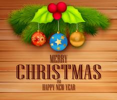 Kerstmiselement met bericht op houten achtergrond