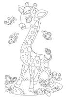 Leuke giraffe spelen met vlinders