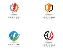 Bliksem blikseminslag elektriciteit vector logo ontwerp