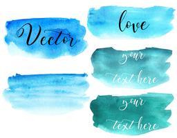 Set van aquarel vlek. Vlekken op een witte achtergrond. Waterverftextuur met borstelslagen. Ronde, rechthoek, spot. Blauw, turkoois. De lucht. Vector. Geïsoleerd. vector