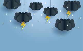 Moesson, regenachtige seizoen achtergrond. wolk regen en bliksemschicht opknoping op blauwe hemel. papier kunst style.vector.
