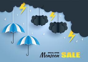 Moesson, regenseizoen verkoop achtergrond. wolk regen, blikseminslag en paraplu opknoping op blauwe hemel. papier kunst style.vector.