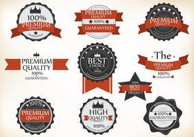 Premiumkwaliteits- en garantieetiketten met retro vintage-stijl