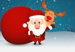 Kerstman met rendieren en sneeuwpop vector