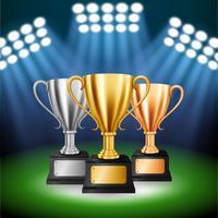 Aangepaste kampioenschappen met 3 trofeeën met verlichte schijnwerpers, vectorillustratie