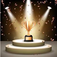 Realistische Bronzen Trofee op het podium met confetti vallen en verlichte schijnwerpers, vectorillustratie
