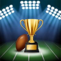 Amerikaans voetbalkampioenschap met gouden trofee met verlichte schijnwerpers, vectorillustratie