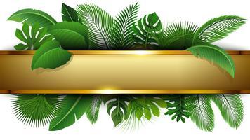 Gouden banner met tekst ruimte van tropisch verlof. Geschikt voor natuurconcept, vakantie en zomervakantie. Vector illustratie