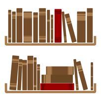 Verschillende rode boeken op plank vector