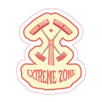 Sticker met cartoon rit dubbele hamer en tekst extreme zone