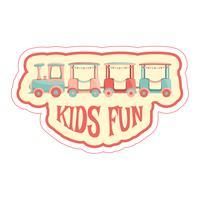 Sticker met kinderen trein en tekst.