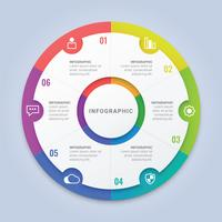 Moderne Infographic cirkel sjabloon met zes opties voor Workflow lay-out, Diagram, jaarverslag, webdesign