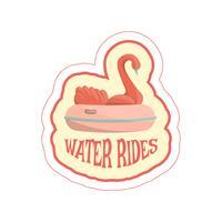 Sticker met cartoon zwaan rit en tekst vector