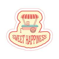 Sticker met cartoon voedsel aanhangwagen en tekst.