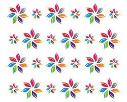 bloemenpatronenembleem en symbolen witte achtergrond